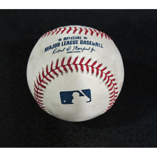 Photo of Game Used Baseball - Pitcher: Marco Gonzales, Batters: Andrelton Simmons, Mike Trout (Simmons Fly Out, Trout Double - Top 3) 7/5/18