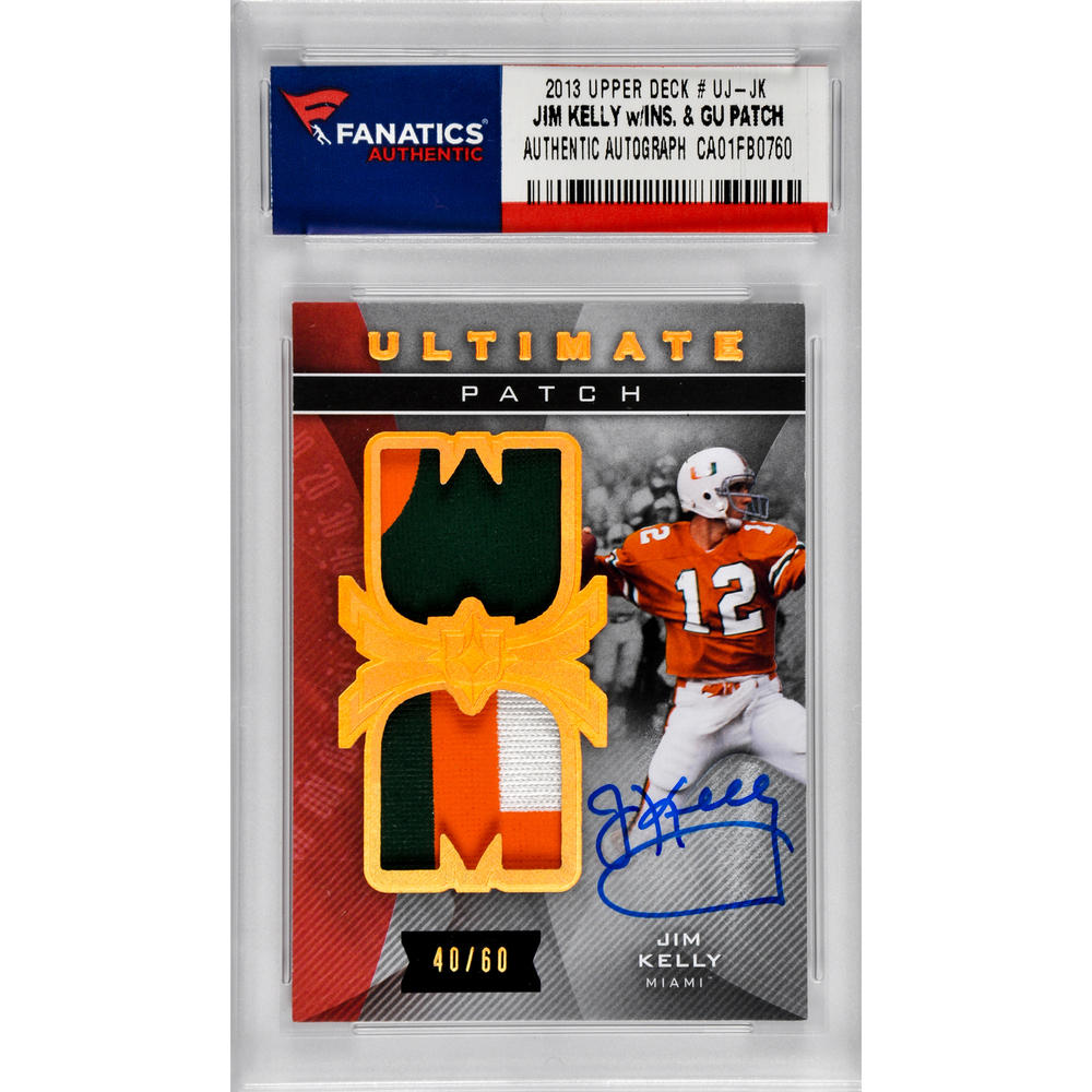 Jim Kelly Buffalo Bills Autographed 2013 Upper Deck # UJ-JK Card with 2 Game Used Patch Pieces