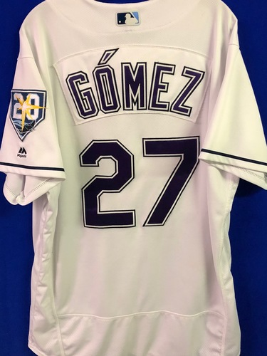 Photo of 20th Anniversary Game Used Devil Rays Jersey: Carlos Gomez (HR, 2H, 3R, RBI) - March 31 v BOS, June 9 v SEA, June 23, v NYY and September 8 v BAL