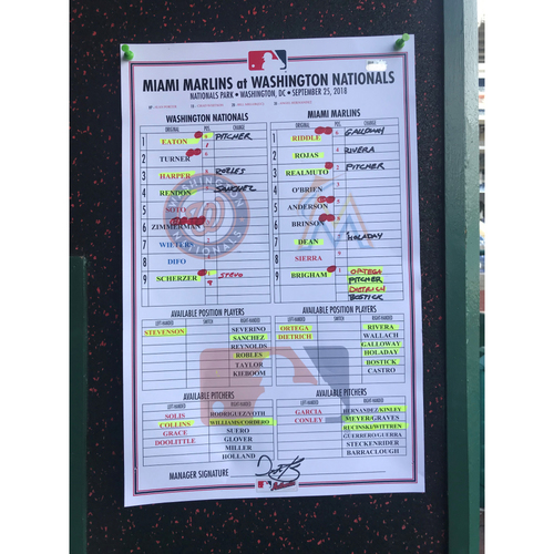 Photo of Game-Used Dugout Lineup Card from Max Scherzer's 300th Strikeout Game
