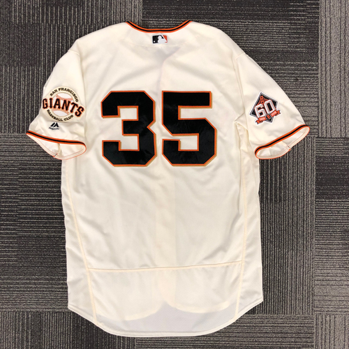 Photo of 2018 Holiday Deal! - 2018 Game Used Home Jersey worn by #35 Brandon Crawford for 4 Games - 10-14, 4 RBI, 4 R, 2 BB, 1 2B, 1 3B, WALK-OFF HR! - Size 48