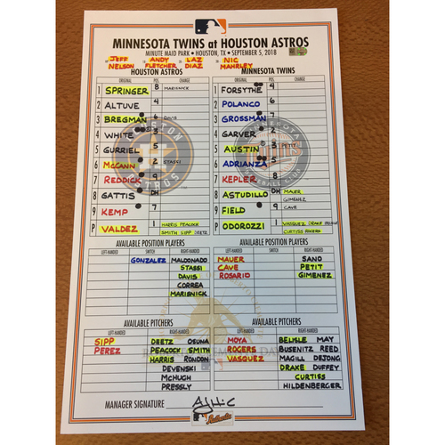 Photo of 2018 Game-Used Lineup Card - 9/5/18 vs MIN