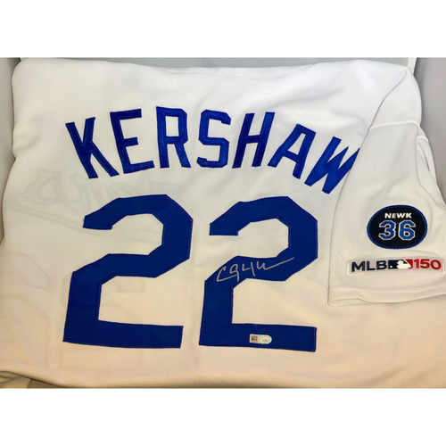 Photo of Clayton Kershaw Authentic Autographed Los Angeles Dodgers Jersey - Newcombe Patch