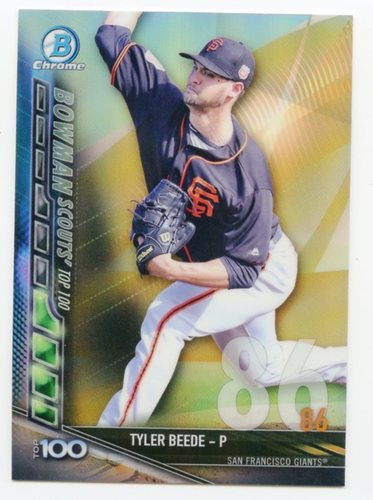 Photo of 2017 Bowman Chrome Scouts Top 100 Refractors #BTP86 Tyler Beede