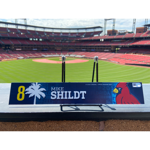 Photo of Cardinals Authentics: Mike Shildt Game Used Spring Training Locker Tag