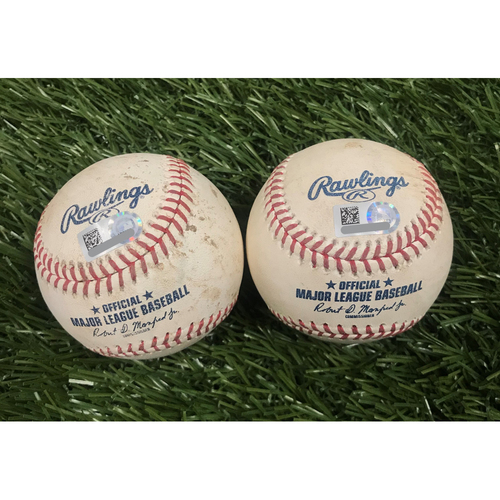 Photo of Game-Used Baseballs from May 1, 2019 and May 2, 2019 - Scherzer and Strasburg Strikeouts