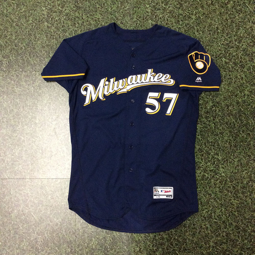 Photo of Chase Anderson 06/29/18 Game-Used Navy Ball & Glove Jersey - 6.0 IP, 2 H, 1 BB, 5 SO, Win #6 (INCLUDES FREE SHIPPING & FREE 2020 GAME-READY 50TH ANNIVERSARY BASEBALL)