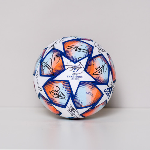 Photo of 20/21 Champions League ball - signed by the FC Barcelona Team