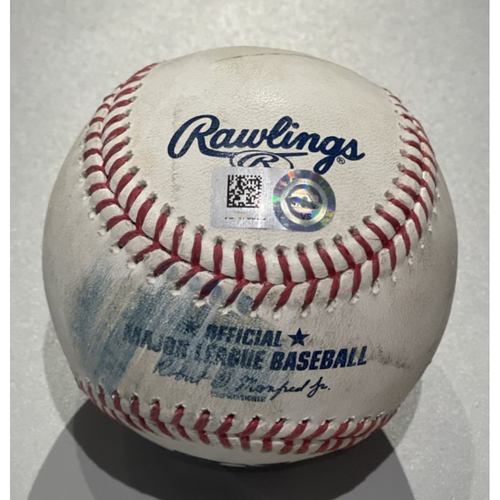 Photo of Game Used Baseball - Jesse Winker Strikes Out against Zach Plesac - 5/7/2021 - Reds at Indians - Wade Miley Pitches No-Hitter
