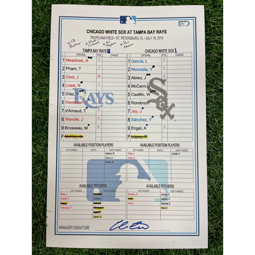 Photo of Game Used Lineup Card: Reynaldo Lopez (W, 7.0IP, 8 SO) - Yolmer Sanchez (2) Home Run - Brendan McKay 4th Career MLB Start - July 19, 2019 v CWS