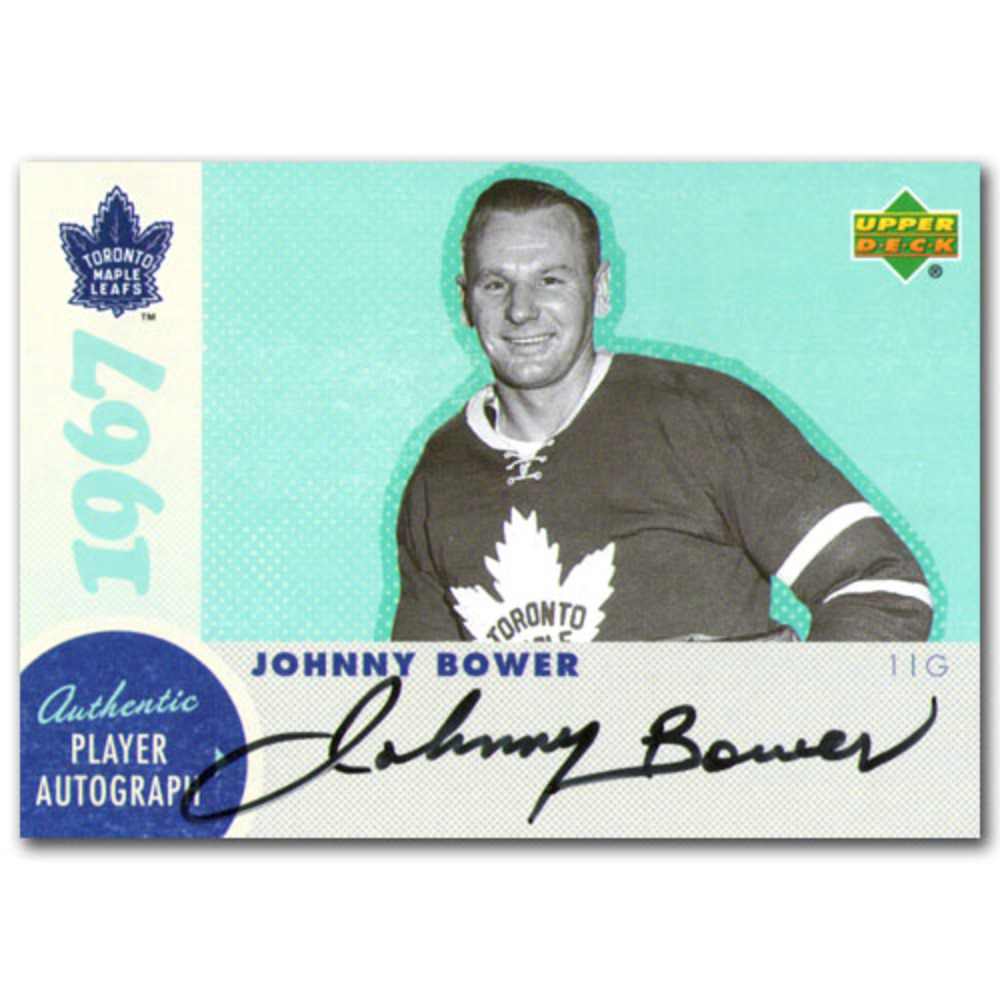 Johnny Bower Autographed Commemorative 1967 Toronto Maple Leafs Upper Deck Hockey Card