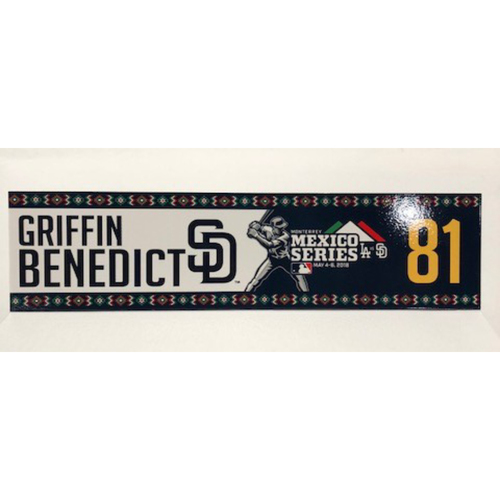 Photo of 2018 Mexico Series - Griffin Benedict Game-Used Locker Tag