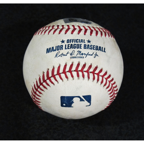 Photo of Game Used Baseball - Pitcher: Mike Leake, Batter: Albert Pujols (Double - Top 4) 7/4/18