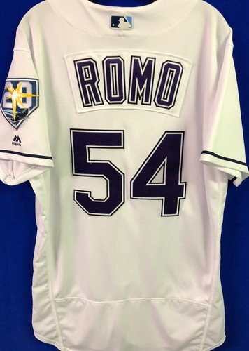 Photo of 20th Anniversary Game Used Devil Rays Jersey: Sergio Romo (1.2 IP, 2 SO) - March 31 v BOS, June 9 v SEA, June 23 v NYY and September 8 v BAL