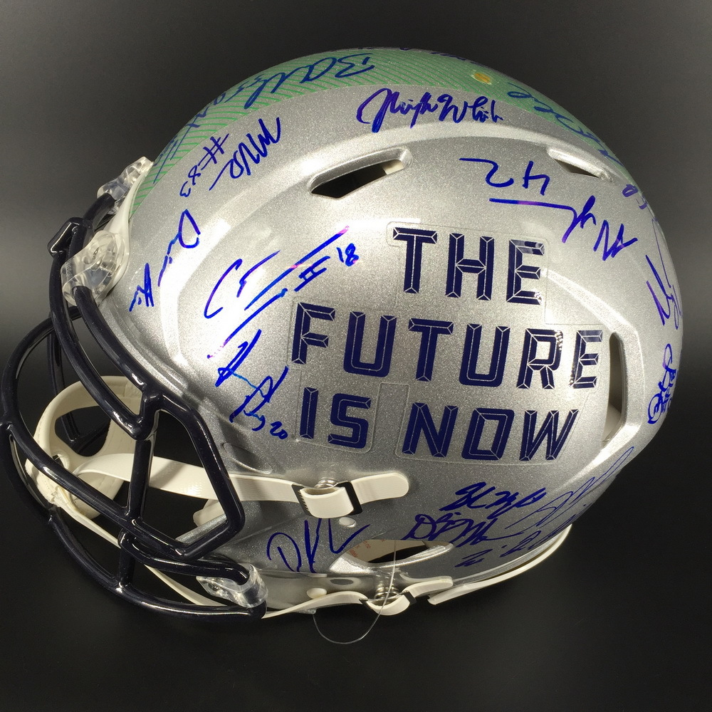 NFL - 2018 Draft Helmet Signed By Over 35 Players Including Saquon Barkley, Baker Mayfield, Sam Darnold, Nick Chubb, Josh Rosen, Josh Allen