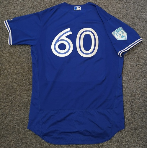 Photo of Authenticated Game Used 2019 Spring Training Jersey - #60 Jason Adam (Mar 25: 1 IP, 4 Hits, 3 ER, 1 K). Size 48