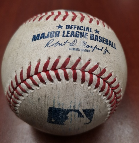 Photo of Authenticated Game Used Baseball - Clayton Richard strikes out Steve Pearce (May 23, 19 vs BOS). Top 2