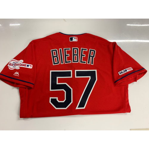 Photo of Shane Bieber 2019 Team Issued Alternate Home Jersey with ASG Patch
