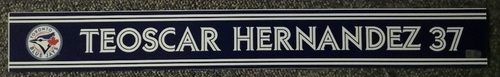 Photo of Authenticated Game Used Locker Name Plate - #37 Teoscar Hernandez (Sept 24, 18: 0-for-2)