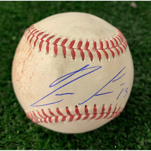 Photo of Ronald Acuna, Jr. Autographed Hit Single Baseball with Plastic Ball Holder - August 16, 2019 -Maeda Strikeout