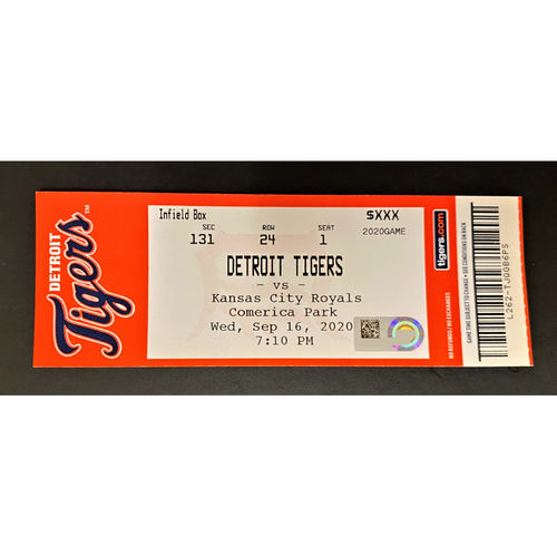 Photo of 9/16/20 - Detroit Tigers vs Kansas City Royals Comerica Park Home Game #23 Limited Edition Full Game Ticket - T. Skubal Record 8K & 0BB vs Brady Singer Game (MLB AUTHENTICATED)