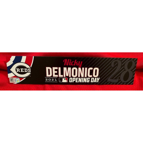 Photo of Nicky Delmonico -- 2021 Opening Day Locker Tag -- Team-Issued -- Cardinals vs. Reds on 4/1/21