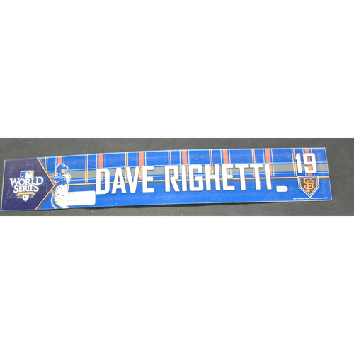 Photo of Game-Used Locker Name Plate - 2010 World Series Game 3 - San Francisco Giants vs. Texas Tangers - Dave Righetti (San Francisco Giants)