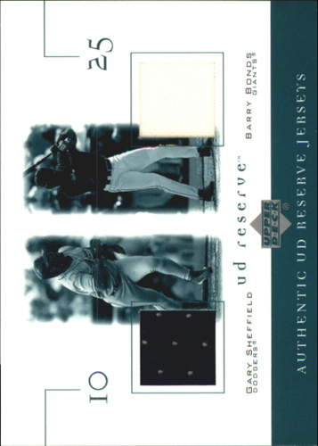 Photo of 2001 UD Reserve Game Jersey Duos #JSB Gary Sheffield/Barry Bonds