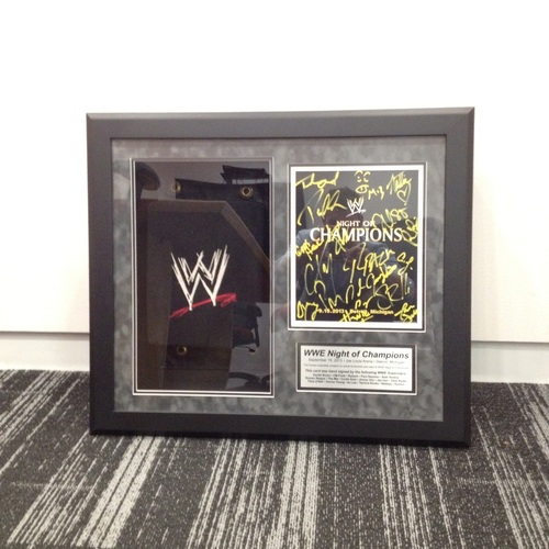 WWE Night of Champions 2013 Used Turnbuckle & Autographed Plaque