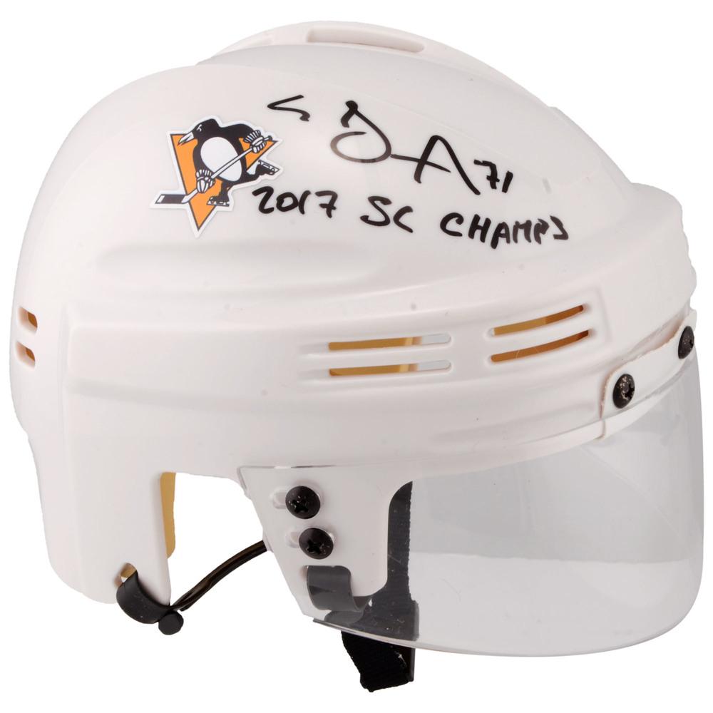 Evgeni Malkin Pittsburgh Penguins Autographed White Mini Helmet with 2017 SC Champs