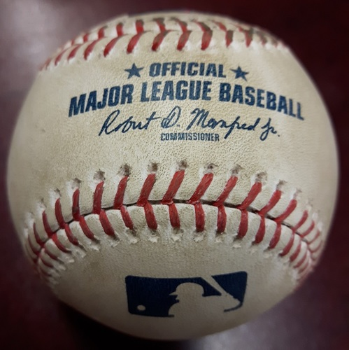 Photo of Authenticated Game Used Baseball - Luke Maile Triple vs Nick Vincent on May 9, 2018 (Bottom 7)