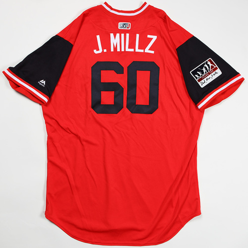 "Photo of Justin ""J. Millz"" Miller Washington Nationals Game-Used Jersey 2018 Players' Weekend Jersey"
