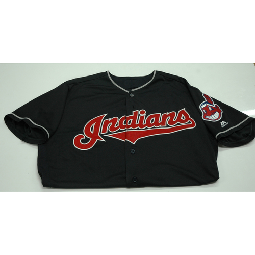 Photo of Edwin Encarnacion Game-Used Jersey  - 9/22 vs. Boston Red Sox (Tribe Sets MLB K's Record)