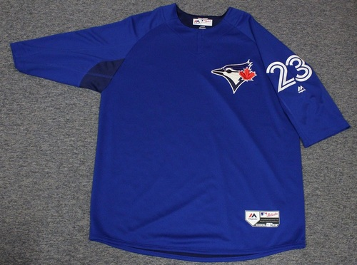 Photo of Authenticated Team Issued Batting Practice Jersey - #23 Dalton Pompey. Size XL.