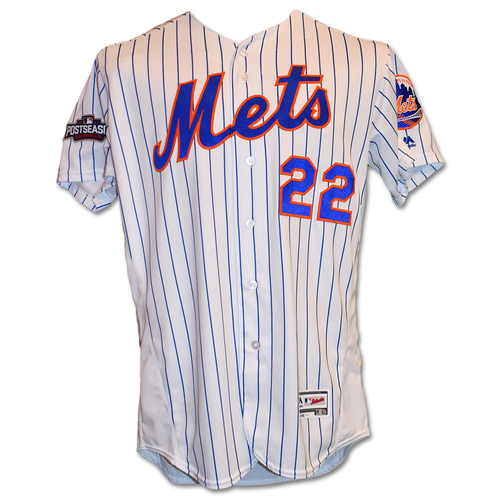 Photo of Tom Goodwin #22 - Game-Used White Pinstripe Jersey - 2016 Postseason - Mets vs. Giants - 10/5/16