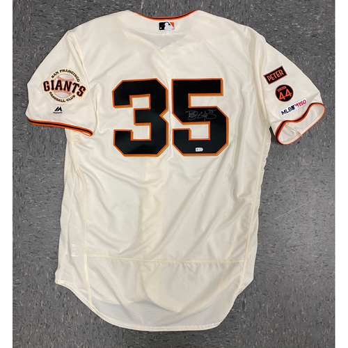 Photo of Buster Posey BP 28 Foundation - 2019 Game Used & Autographed Home Cream Jersey used & signed by #35 Brandon Crawford on 8/11 vs. Philadephia Phillies - Size 48