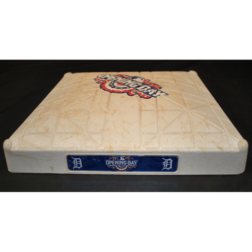 Photo of Game Used Opening Day Base - Boston Red Sox at Detroit Tigers (4/7/2017) - 2nd Base - Innings 8 - 9