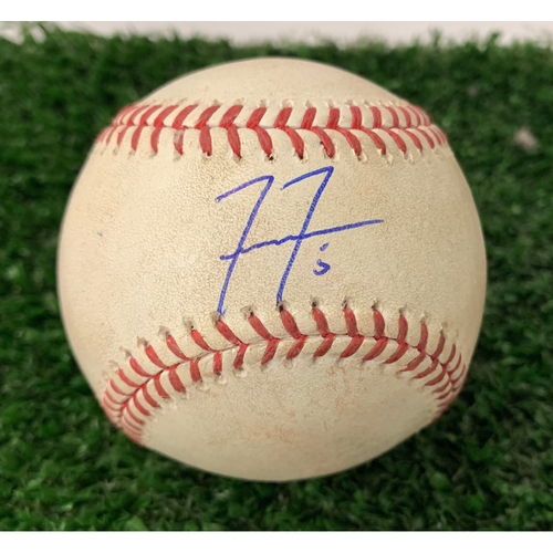 Photo of Freddie Freeman Autographed Hit Double Baseball with Plastic Ball Holder- July 21, 2019