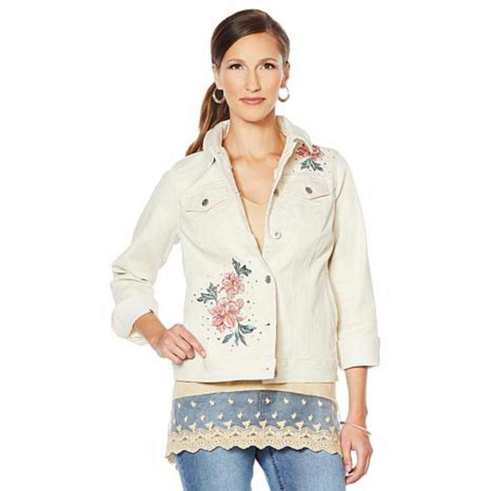 Photo of DG2 by Diane Gilman Floral Embroidered Denim Jacket
