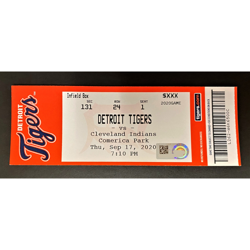 Photo of 9/17/20 - Detroit Tigers vs Cleveland Indians Comerica Park Home Game #24 Limited Edition Full Game Ticket - Shane Bieber 10K Game (MLB AUTHENTICATED)