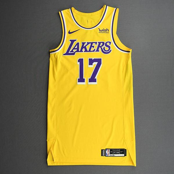 Image of Dennis Schroder - Los Angeles Lakers - Kia NBA Tip-Off 2020 - Game-Worn Icon Edition Jersey - Lakers' Debut - Recorded a Double-Double