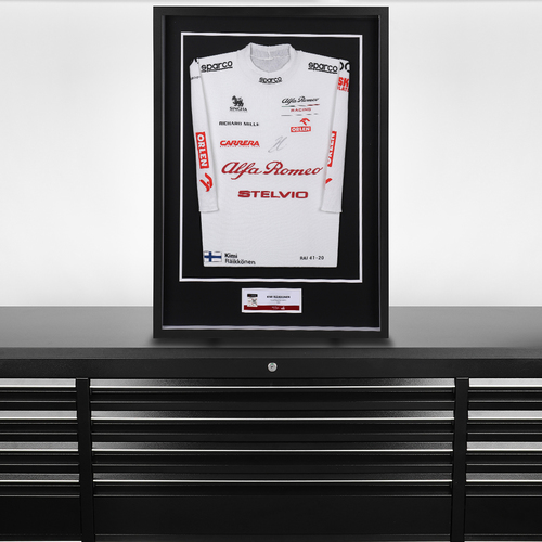 Photo of Kimi Raikkonen 2020 Framed Signed Race-worn Nomex