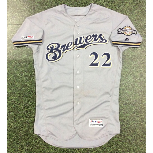 Photo of Christian Yelich 08/05/19 Game-Used Road Grey Jersey - 4-5, 2 HR (#38, 39)