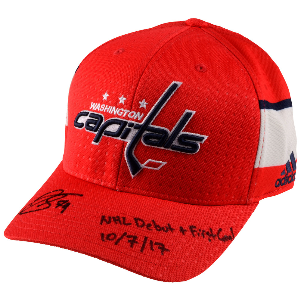 Nathan Walker Washington Capitals Autographed Cap with NHL Debut 10/7/17 Inscription - #1 of a L.E. of 17