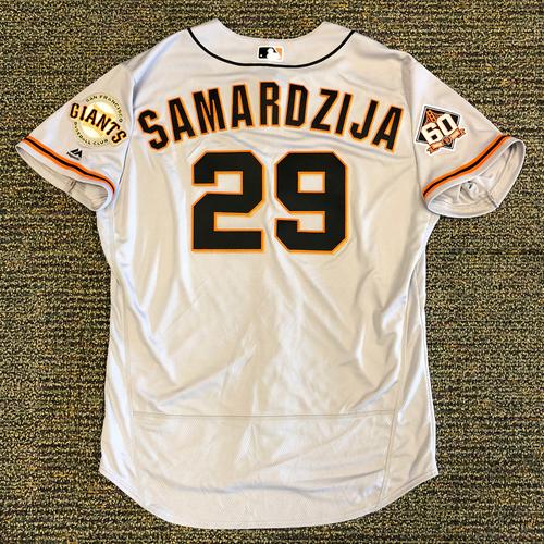 Photo of San Francisco Giants - 2018 Opening Day Team Issued Road Jersey - #29 Jeff Samardzija  - Jersey Size 50
