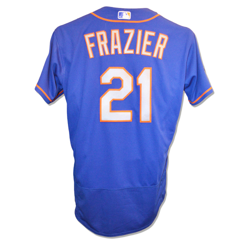 Photo of Todd Frazier #21 - Game Used Blue Alt. Road Jersey - Mets vs. Nationals - 9/22/18