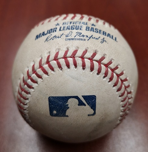 Photo of Authenticated Game Used Baseball - Single by Eduardo Nunez against Clayton Richard (May 23, 19 vs BOS). Top 3