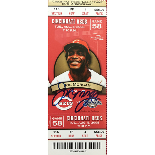 Photo of Joe Morgan Signed Ticket