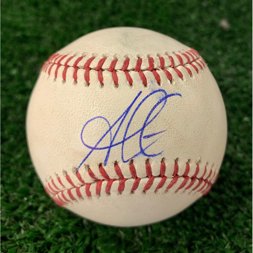 Photo of Ozzie Albies Autographed Hit Single Baseball with Plastic Ball Holder- May 31, 2019