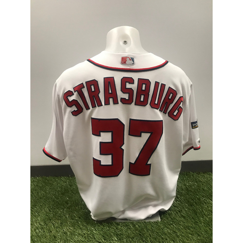 Photo of Game-Used White Stephen Strasburg Jersey - May 2, 2019 - Fastest Pitcher to Reach 1,500 Strikeouts